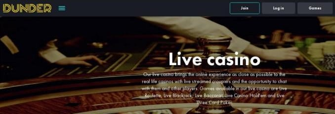 Dunder Live Casino Dealer